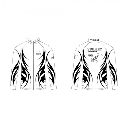 Jigging Master *17 UFO Violent Jigging Style Long Sleeve T-Shirt #M-White/Black