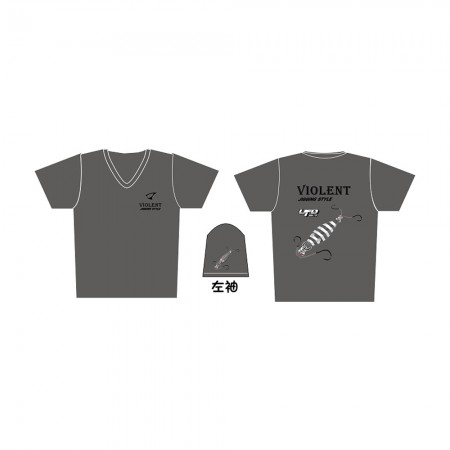 Jigging Master *17 UFO Violent Jigging Style Short Sleeve T-Shirt #L-Gray