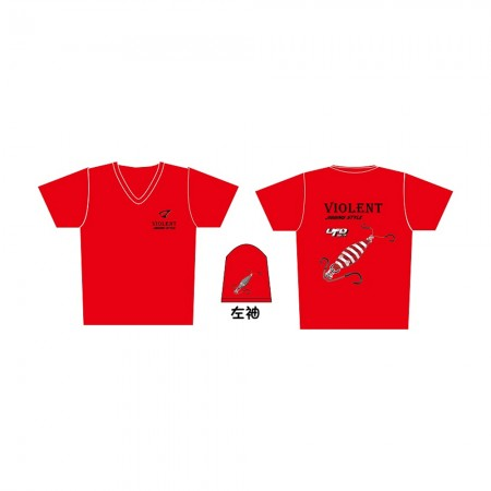 Jigging Master *17 UFO Violent Jigging Style Short Sleeve T-Shirt #XL-Red